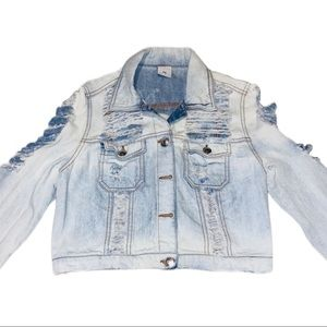 Almost Famous Ripped Jean Jacket Size Medium WOMEN